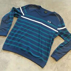 Oakley men's size L striped V neck sweater